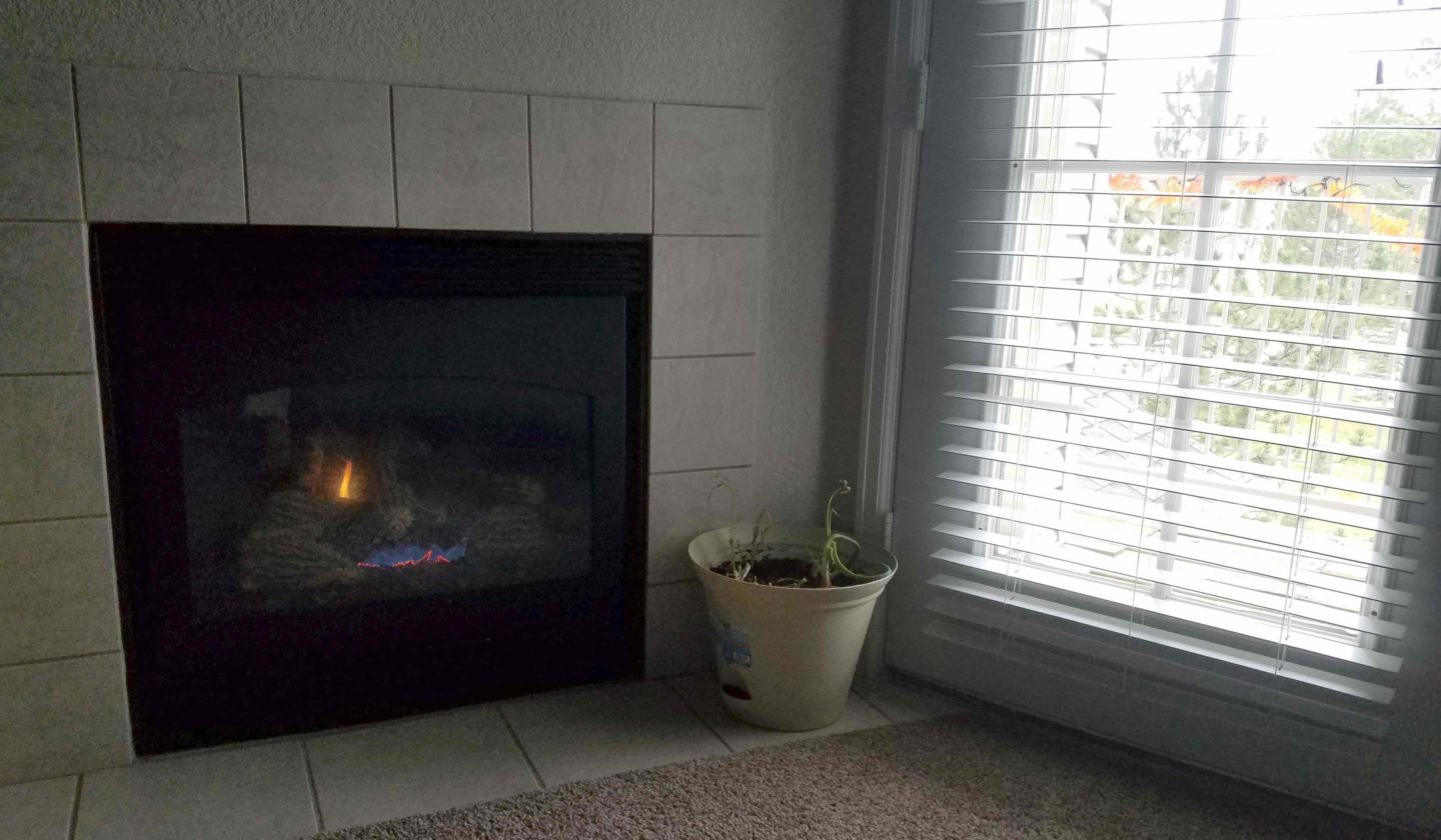 Rainy day by the fireplace in November 2017
